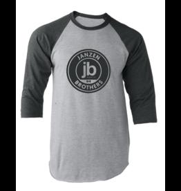JB Music Co. - Logo Shirt 3/4 Sleeve Ball Shirt, Grey w/Black Sleeves