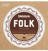 D'Addario - Silverplated Folk Nylon, Ball End