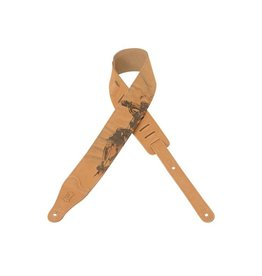 "Levy's - 2.5"" Nubuck Leather Strap w/ Jesus on Cross"