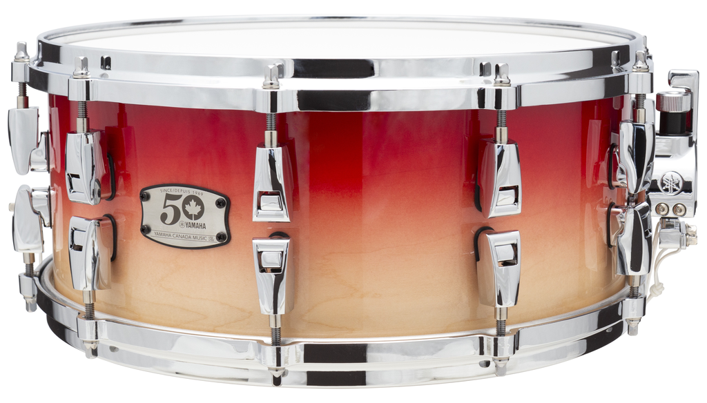 Yamaha - AMS1460YC Canada 50th Anniversary Hybrid Maple 14x6 Snare Drum, Canada Red Fade