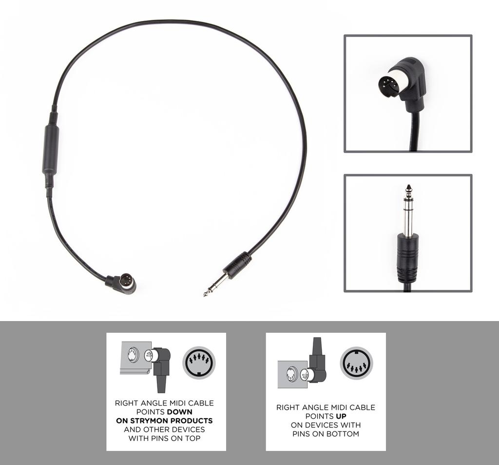 "Strymon - MIDI EXP Cable, Right Angle MIDI to Straight 1/4"" TRS"