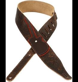 "Levy's - M17CXD 2.5"" Cracked Leather Strap w/Cross Applique, Dark Brown"