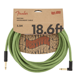 Fender - Angled Festival Instrument Cable, Pure Hemp, Green, 18.6'