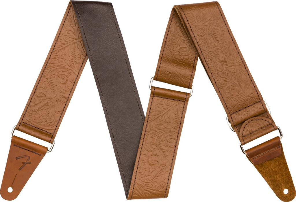 """Fender - Tooled Leather Guitar Strap, 2"""", Brown"""