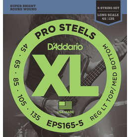 D'Addario - XL 5 String Bass, 45-135 Long Scale, Pro Steel