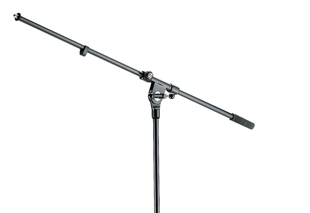 K&M - Microphone stand, folding legs with boom, zinc die-cast base, black