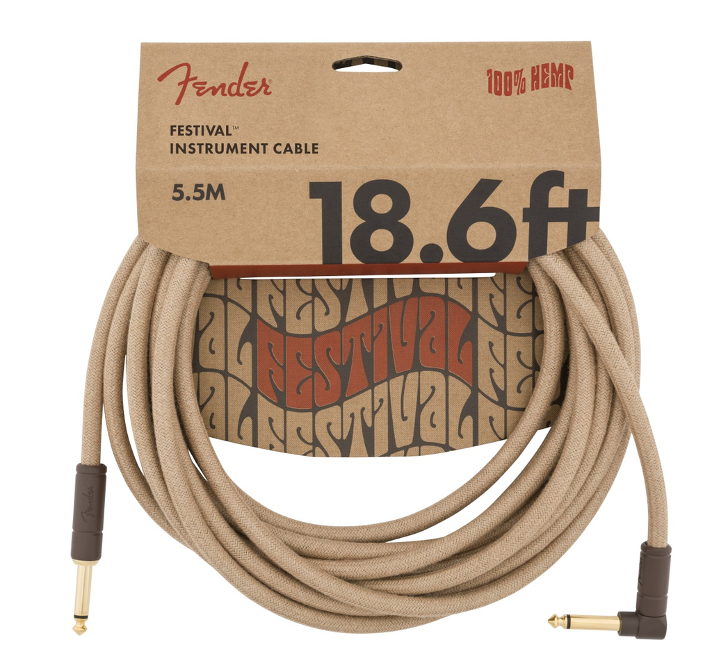 Fender - Angled Festival Instrument Cable, Pure Hemp, Natural, 18.6'