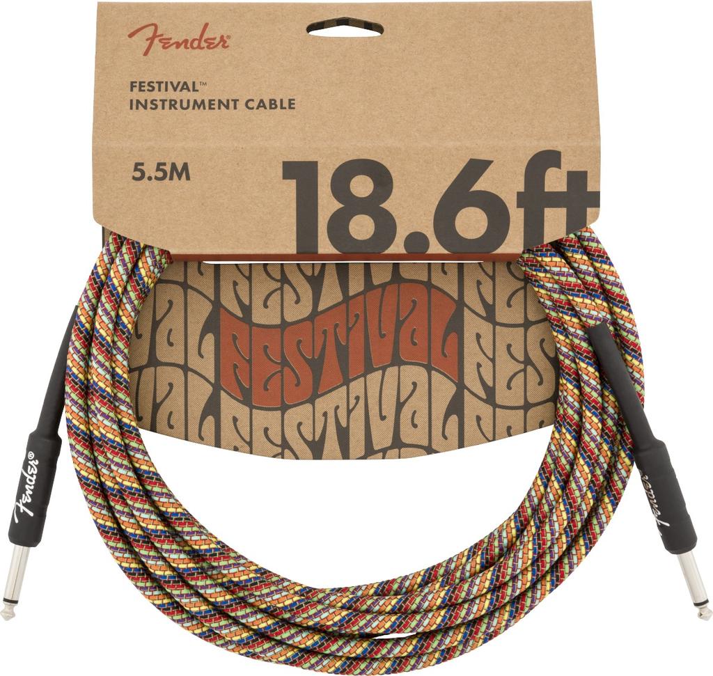 Fender - Festival Instrument Cable, Pure Hemp, Rainbow 18.6'
