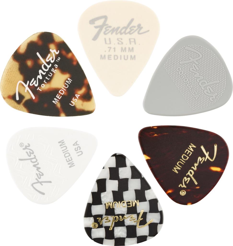 Fender - 351 Shape, Material Medley Pick Pack, 6 Pack