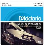 D'Addario - EJ60 Nickel Wound, Light 5 String Banjo Strings