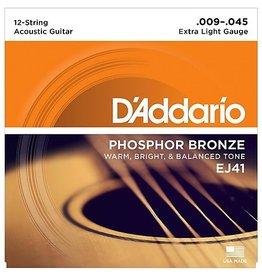 D'Addario - EJ41 Phosphor Bronze 12 String, 09-45 Extra Light