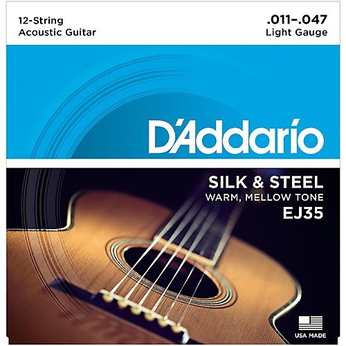 D'Addario - EJ35 Silk and Steel Folk, 11-47 12 String Silver Wound