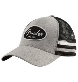 Fender - Core Grey & Black Trucker Hat, w/Side Stripes