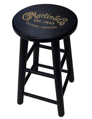 "Martin - 24"" Wooden Stool, Martin Logo, Black"