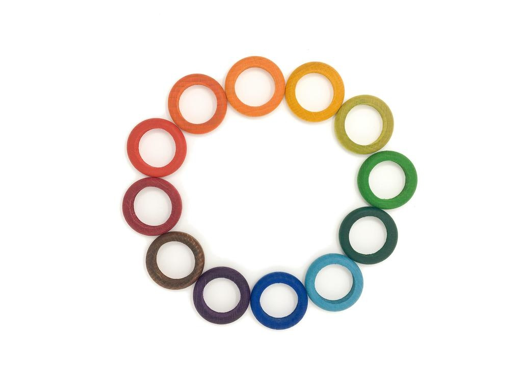 Grapat Multicoloured Wood Coloured Rings 12 pcs, Complements Perpetual Calendar
