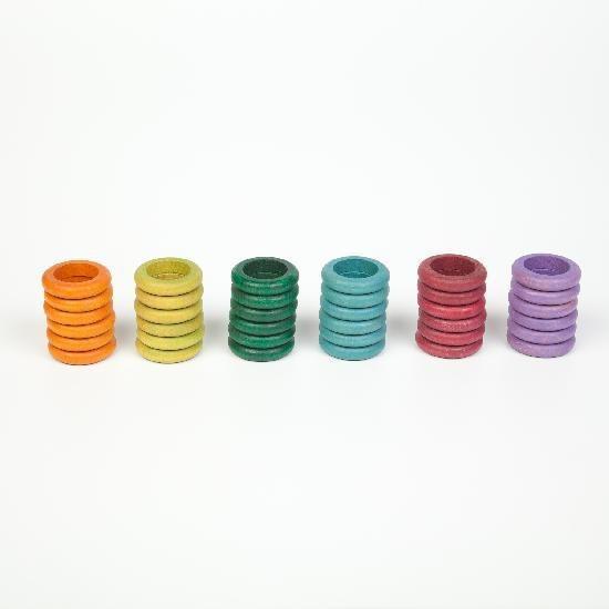 Grapat Wood Coloured Rings 36 pcs (6 no basic colours)