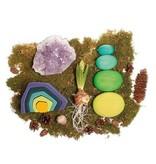 Grimm's Building Set, moss pebbles 4 pcs, greens