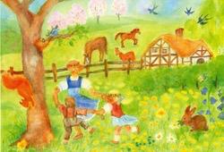 Wynstones Press Postcard set of 5 Through the Seasons by Dorothea Schmidt