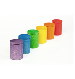 Grapat Wood Coloured Cups With Lids x 6