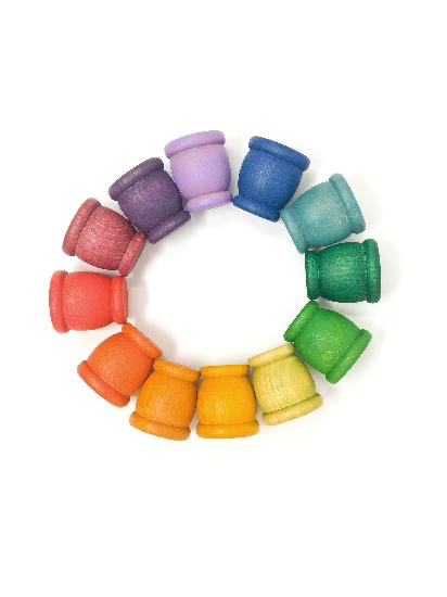 Grapat Wood Coloured Mates / Pots 12 pcs (12 colour)