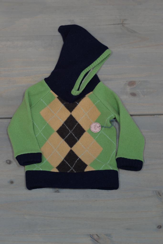 Wooly Way Woolens Child Hoodie - Upcycled Wool 1-2 years