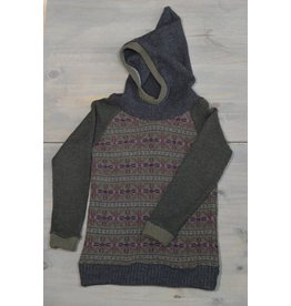 Wooly Way Woolens Child Hoodie - Upcycled Wool 7-8 years grey/green