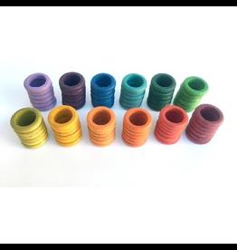 Grapat Wood Coloured Rings 72 pcs (12 colours)