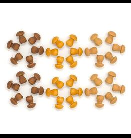 Grapat Wood Mandala Mushrooms 36 pcs (Browns)