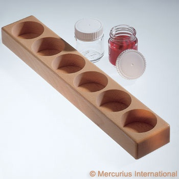 Mercurius Wooden holder for 6 glass paint jars with lid 50ml
