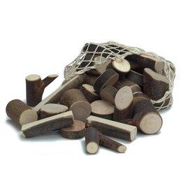 Gluckskafer Branch Wood Blocks in Net Bag (34 pcs)