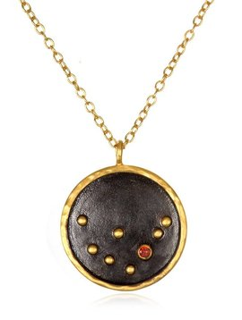 "Satya 18"" Black Zodiac Capricorn Garnet Necklace"