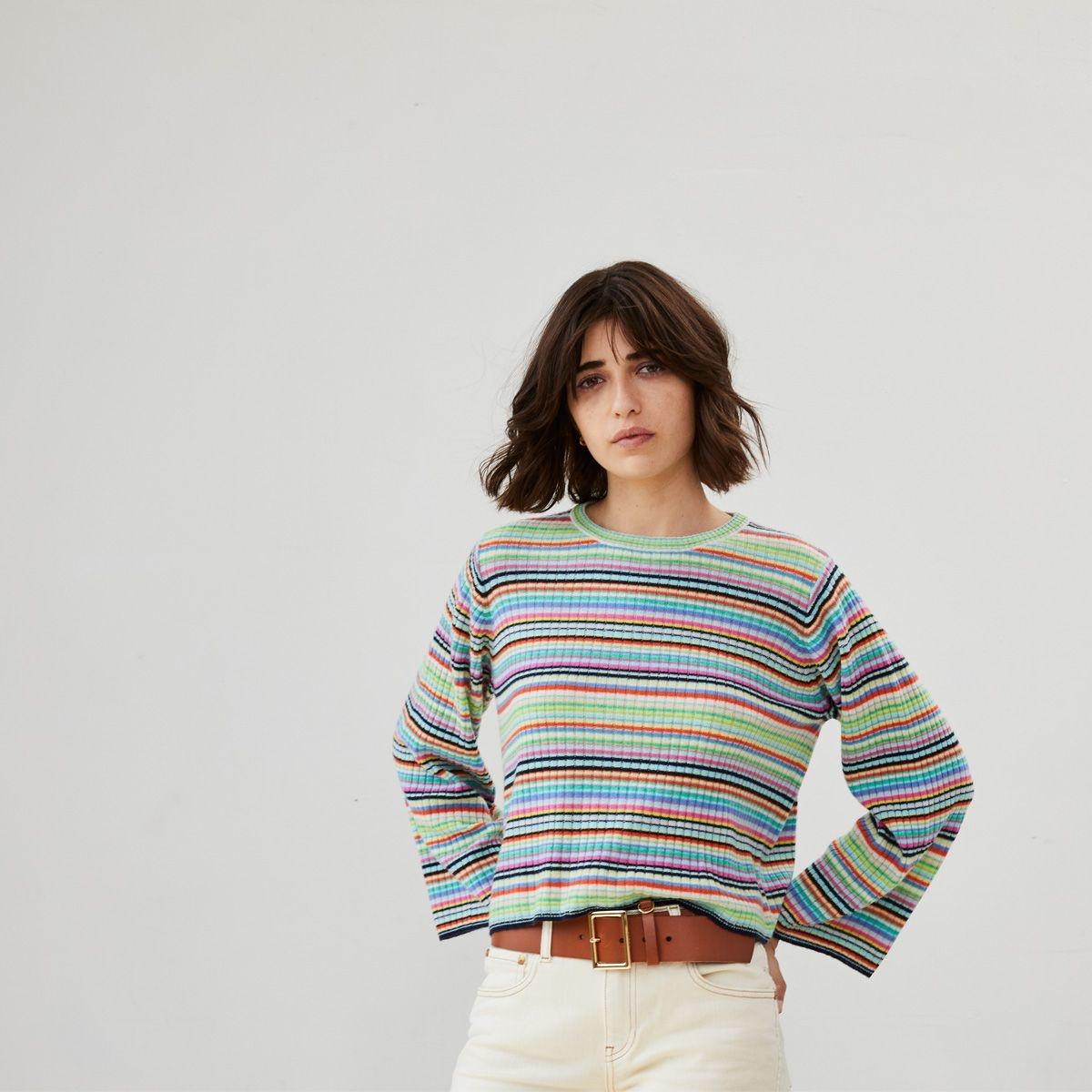 Autumn Cashmere Multi Stripe Rib Sweater
