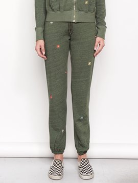 Sundry Embroidered Flowers Sweatpant