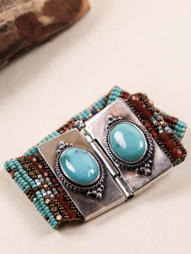 Peyote Bird Designs Chili Rose Double Turquoise Bracelet
