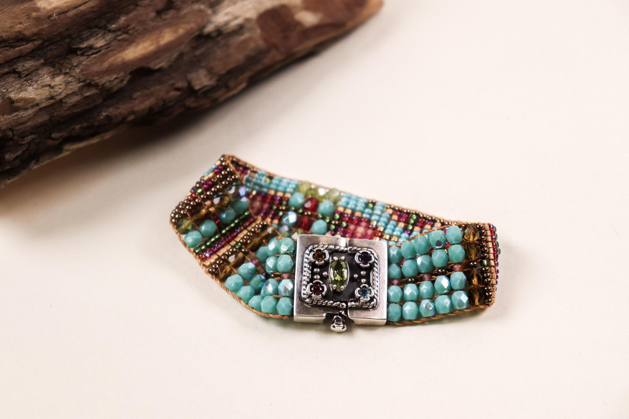 Peyote Bird Designs Chili Rose 5 Stone Clasp Bracelet