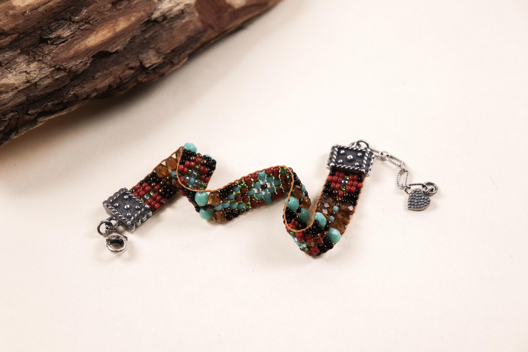 Peyote Bird Designs Chili Rose Heart Charm Clasp Bracelet