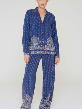 La Boheme Abel Silk Filigree Border Print PJ Pants