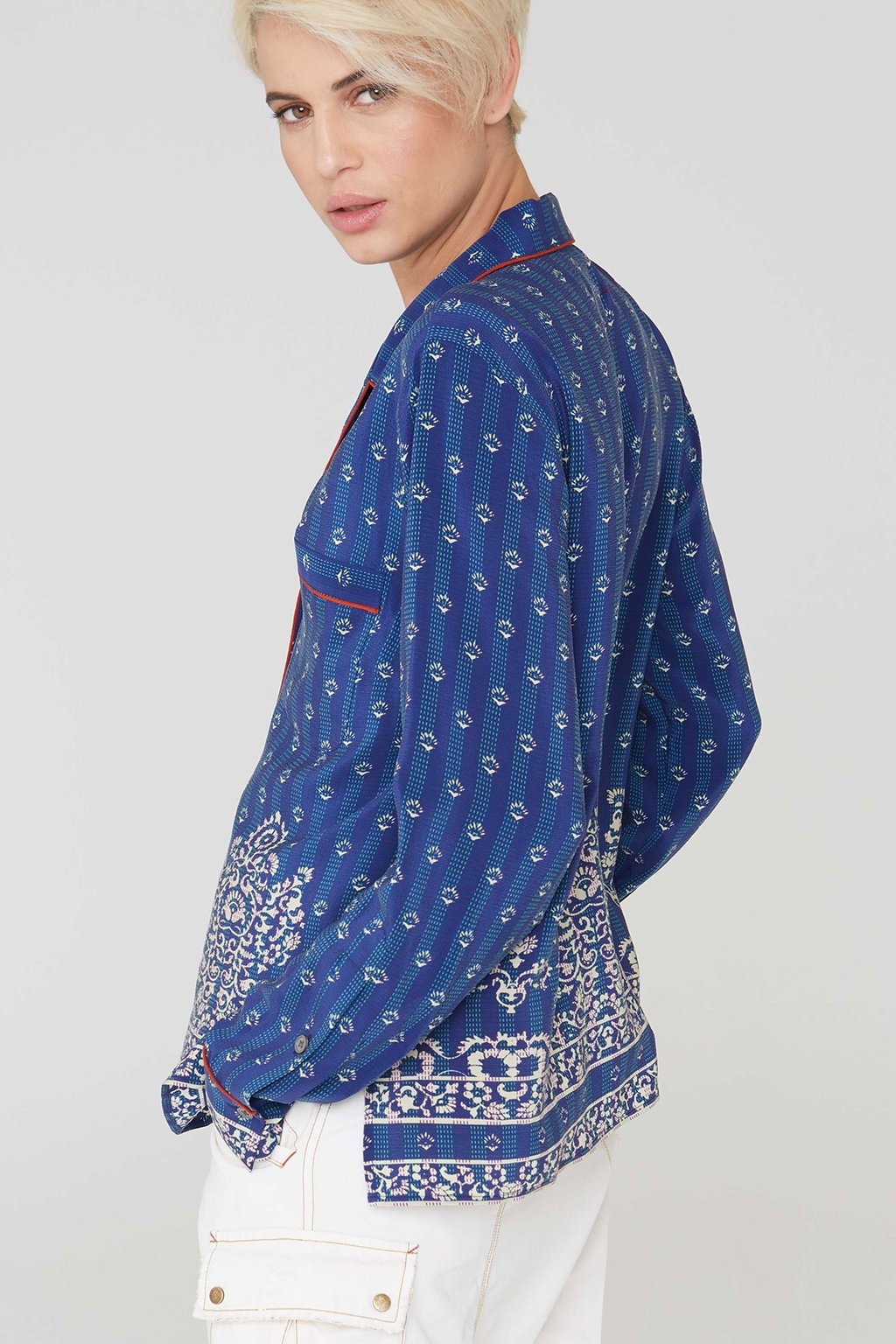 La Boheme Farah Silk Filigree Border Print PJ Shirt