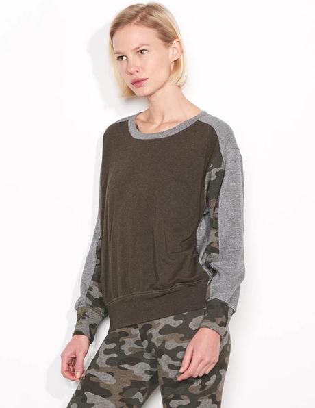 Sundry Camo Colorblocked Sweatshirt