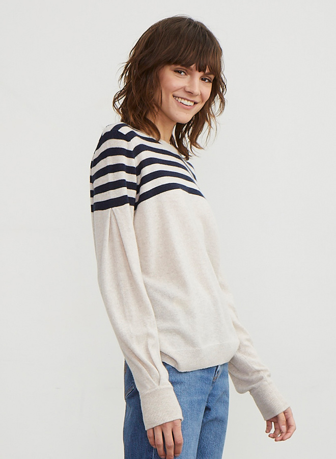 Autumn Cashmere Stripe Yoke with Pleat Sleeve Sweater