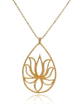 Satya Gold Etched Henna Lotus Necklace