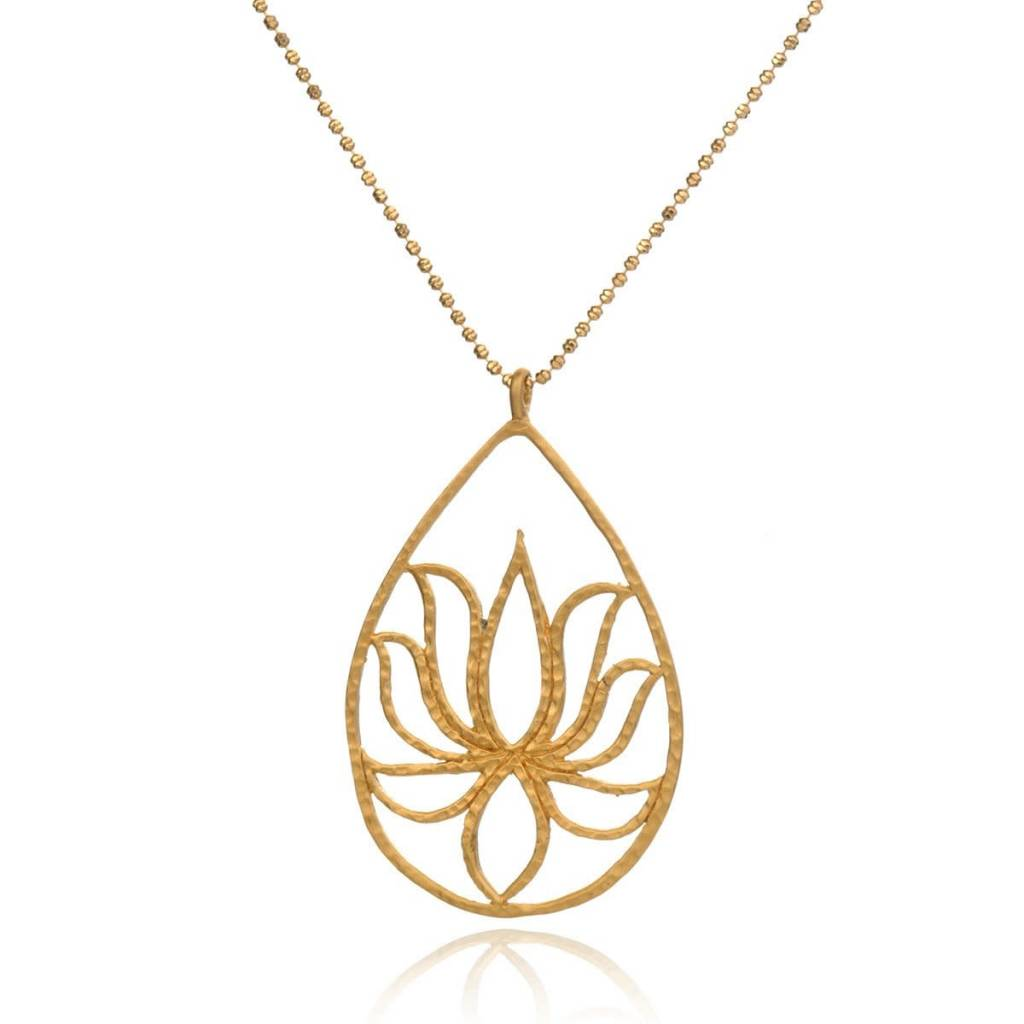 Gold Etched Henna Lotus Necklace The Showcase Boutique