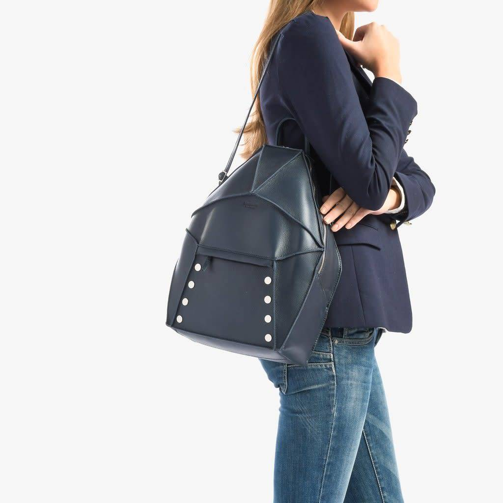 Hammitt Bob Backpack in Juniper Leather and Brushed Silver