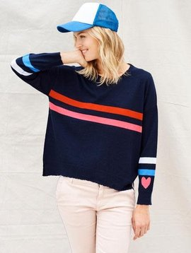 Sundry Stripes + Heart Crewneck