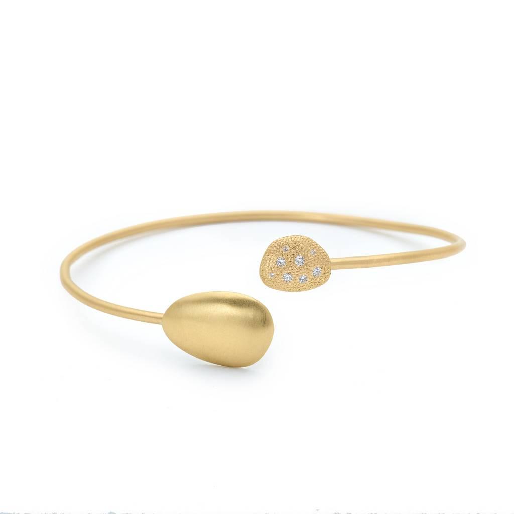 Anne Sportun Large Open Gold Diamond Petal Bangle