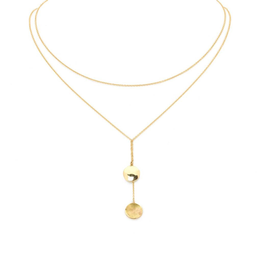 Anne Sportun Gold Hammered Disc Necklace