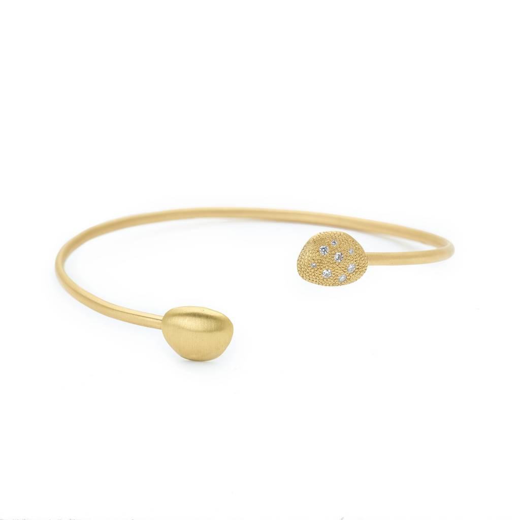 Anne Sportun Open Gold Diamond Petal Bangle