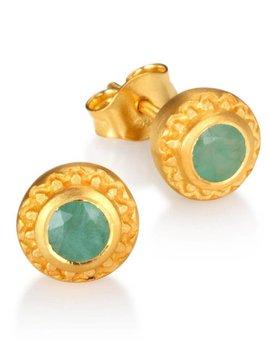 Satya Emerald Gold Studs