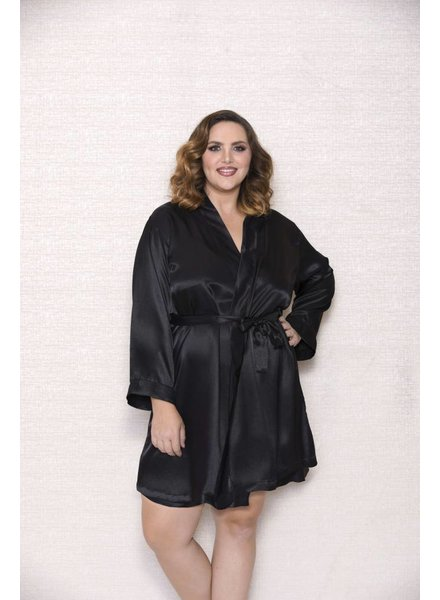 PLUS SIZE BLACK SATIN ROBE