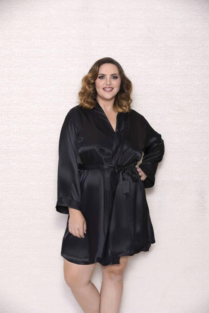 Plus Size Black Satin Robe Angie Davis